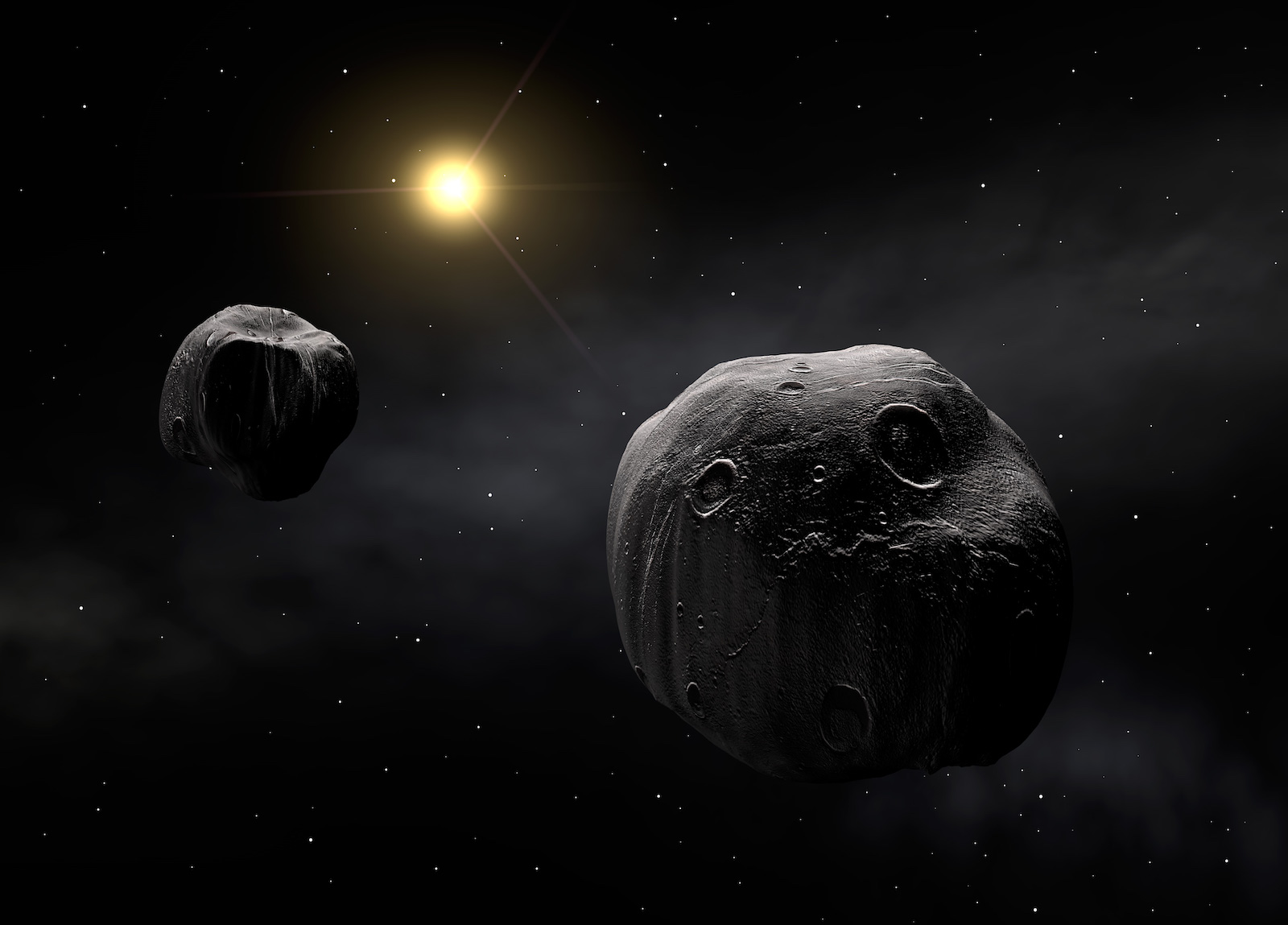 L'astéroïde double Antiope (vue d'artiste). Crédit : ESO