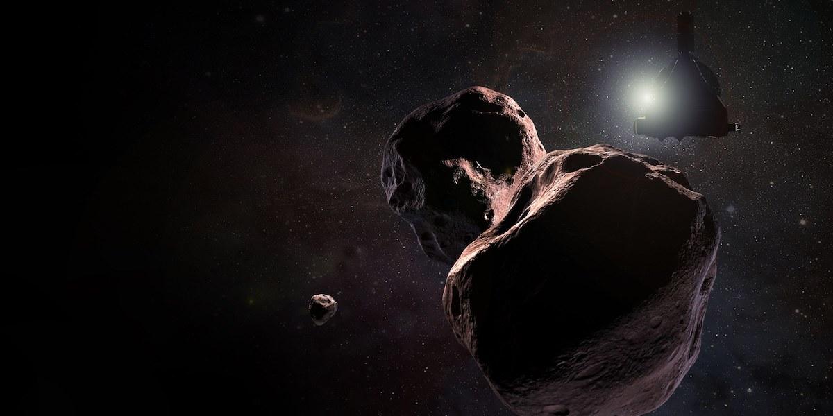 La sonde New Horizons s'approche à Ultima Thulé (vue d'artiste). Crédit : NASA/Johns Hopkins University Applied Physics Laboratory/Southwest Research Institute/Steve Gribben