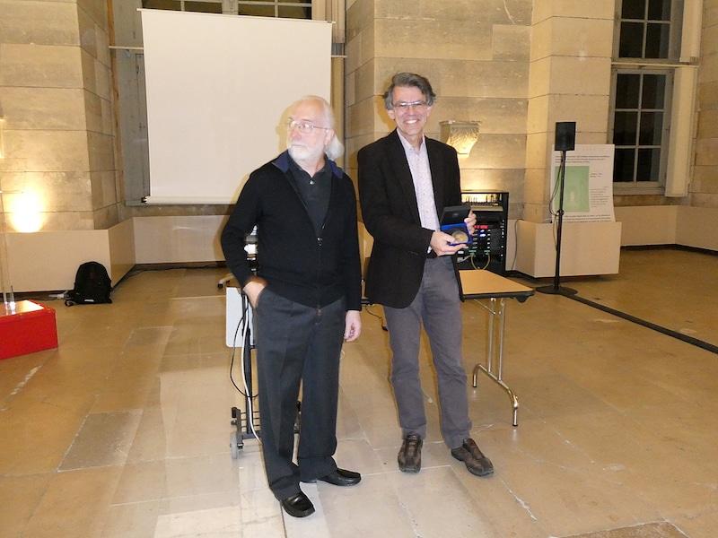 Alessandro Morbidelli, Prix Janssen 2018 (à droite) et Roger Ferler, vice-président de la Société astronomique de France